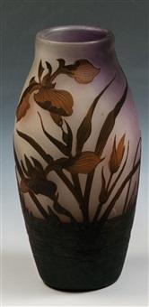 vase mit teichpflanzen by arsall (vereinigte lausitzer glaswerke)