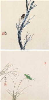 花鸟 (2 works) by lin lanzi