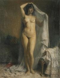 stehender weiblicher akt mit tuch by ernest-gaston amas