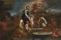 holy family with angels in a landscape by luigi garzi