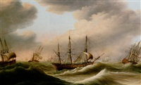dutch men-of-war in choppy seas by engel hoogerheyden