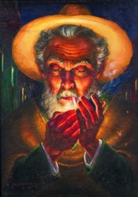 man lighting a cigarette by luis monge