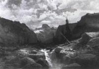 gebirgslandschaft mit wildbach by n. godchaux