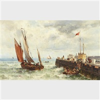 harbour scene with fishing boats by theodor alexander weber