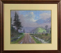 country road with atmospheric clouds by joseph patrick mcmeekin