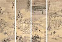 山水人物 (4 works) by liang ji
