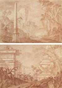 un paysage rocheux avec un obélisque, un pont au fond (+ un paysage avec des temples en ruine, un sarcophage au premier plan; pair) by jean laurent legeay