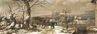 a wooded winter landscape with figures chopping wood beside a horse-drawn cart with skaters on a frozen river, a village beyond by jules cesar denis van loo