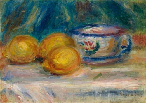 nature morte trois citrons et une tasse by pierre auguste renoir