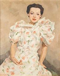 jeune femme à la robe fleurie by marguerite antoine