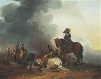 a cavalry officer inspecting a fallen horseman by francesco giuseppe casanova