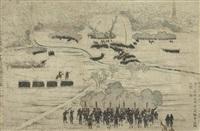 gokaku ijin yokohama joriku no zu (triptych) (oban) (+ 10 others; 13 works) by utagawa yoshikazu
