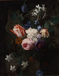 still life with a pink rose, a two-colored tulip and white narcissus in a cartouche by nicolaes van veerendael