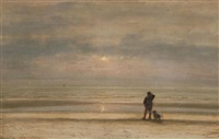 man with dog near the sea at sunset by johannes joseph destree