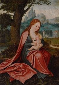 maria mit dem kind in weiter landschaft by joachim patinir