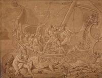 odysseus mit seinen gefährten am ufer der insel der sirenen by conrad martin metz