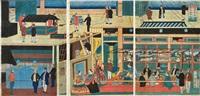 amerikakoku jôkisenchû no zu (3 oban; triptych) by utagawa yoshikazu