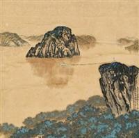 高峡出平湖 立轴 设色纸本 by wang songyu, sun kegang, and he jianguo