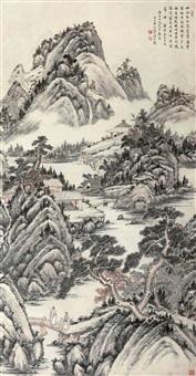 曳杖秋林图 (landscape) by ji dafu