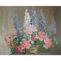 peonies and hollyhocks by beatrice hagarty robertson