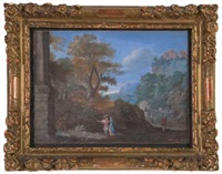 classical landscape with figures near a column by pierre patel