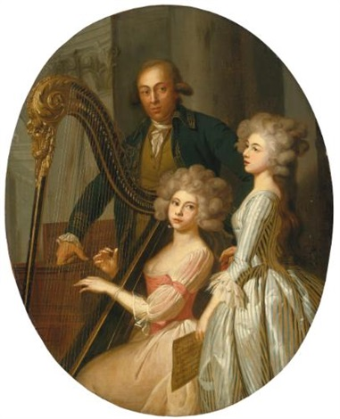 a group portrait with a young woman playing the harp another young woman singing and a gentleman possibly their music instructor standing behind by marie victoire lemoine