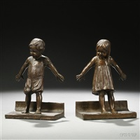 figural bookends (pair) by abastenia st. leger eberle