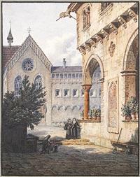 innenhof eines mittelalterlichen klosters mit drei nonnen by simon quaglio