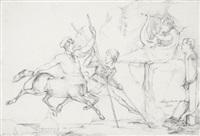 karikatur auf vier künstler in rom by caspar eduard hauser