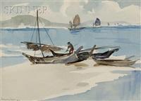 view of fisherman with a catamaran by yong mun sen