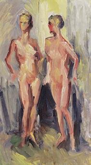 zwei stehende weibliche akte by leon abramowicz