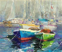 moored boats (+ seagulls flying over choppy waters; 2 works) by yuri kuchinov