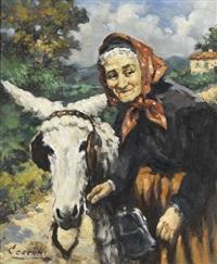 bäuerin mit esel in italienischer landschaft by alberto cecconi