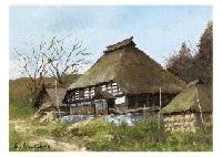village in hakuba village, mt. fuji and spring (3 works) by shigeo ishikawa