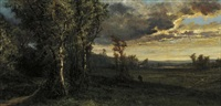 evening landscape by alexander ferdinand wust