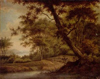 a wooded river landscape with figures on a path by carl sebastian von bemmel