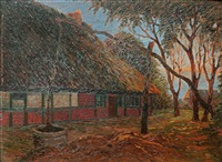 old farm house, morning mood by heinrich blunck-heikendorf