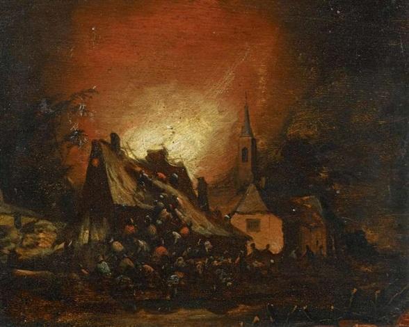 nächtlicher brand im dorf by egbert lievensz van der poel