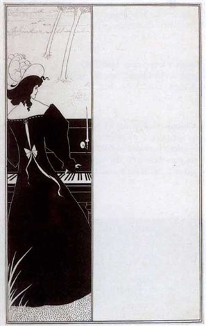 title page ornament for the yellow book vol i woman at the piano incl magazines vols i xiii by aubrey vincent beardsley