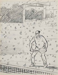the poplar trees improvise a snow storm on no. 1 court by ernest h. shepard