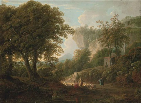 a mountainous wooded landscape with drovers and their flock on a track by george lambert