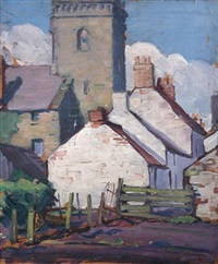 cottages by a church by joseph simpson