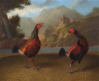a cockfight, set against a landscape (set of 4) by charles towne