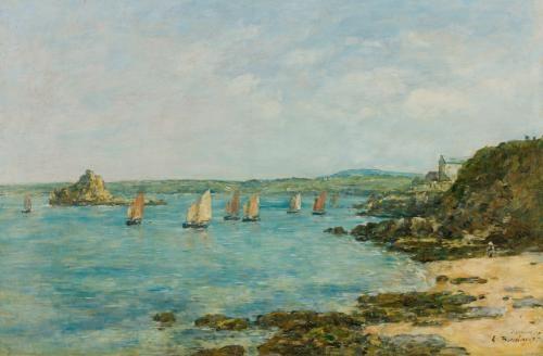 douarnenez bateaux de pêche dans la baie by eugène boudin