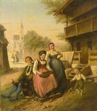 musizierende familie in schwäbischer tracht by hermann volz