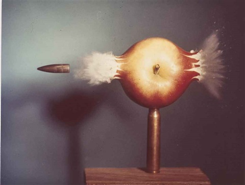 bullet piercing an apple by harold eugene edgerton