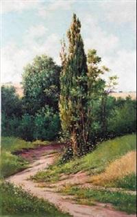 paisaje con ciprés by serafín avendaño