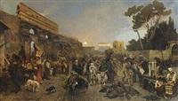 abendliches treiben an der porta maggiore in rom by franz gustav hochmann