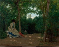 jeune femme à l'ombrelle dans un sous-bois by louis emile pinel de grandchamp