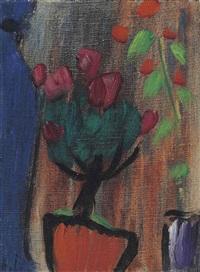 stilleben: azaleenstöckchen bei dunkler blauer vase by alexej jawlensky